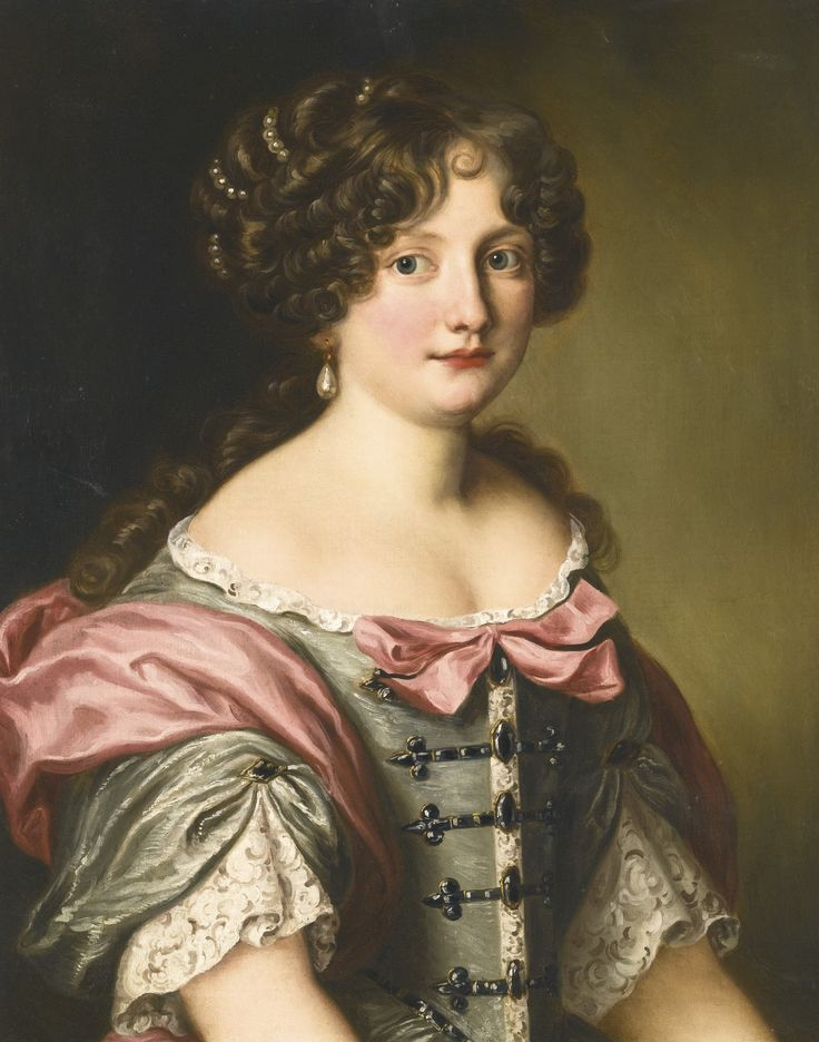 FERDINAND VOET ANTWERP 1639 - 1689 PARIS PORTRAIT OF ANNA MARIA CARPEGNA NARO (1651-1731), HALF LENGTH, WEARING A DRESS WITH FINE LACE