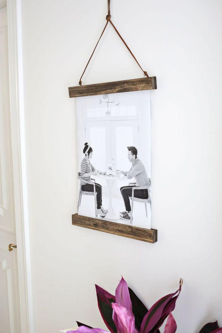 Make your own wood frame poster hanger!