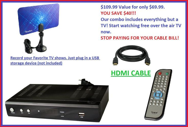 iView 3500STB Digital to Analog DTV converter box combo + Top Selling Antenna + 6' premium HDMI cable
