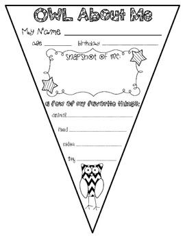 ALL ABOUT ME {OWL ABOUT ME) PENNANT BANNER - TeachersPayTeachers.com