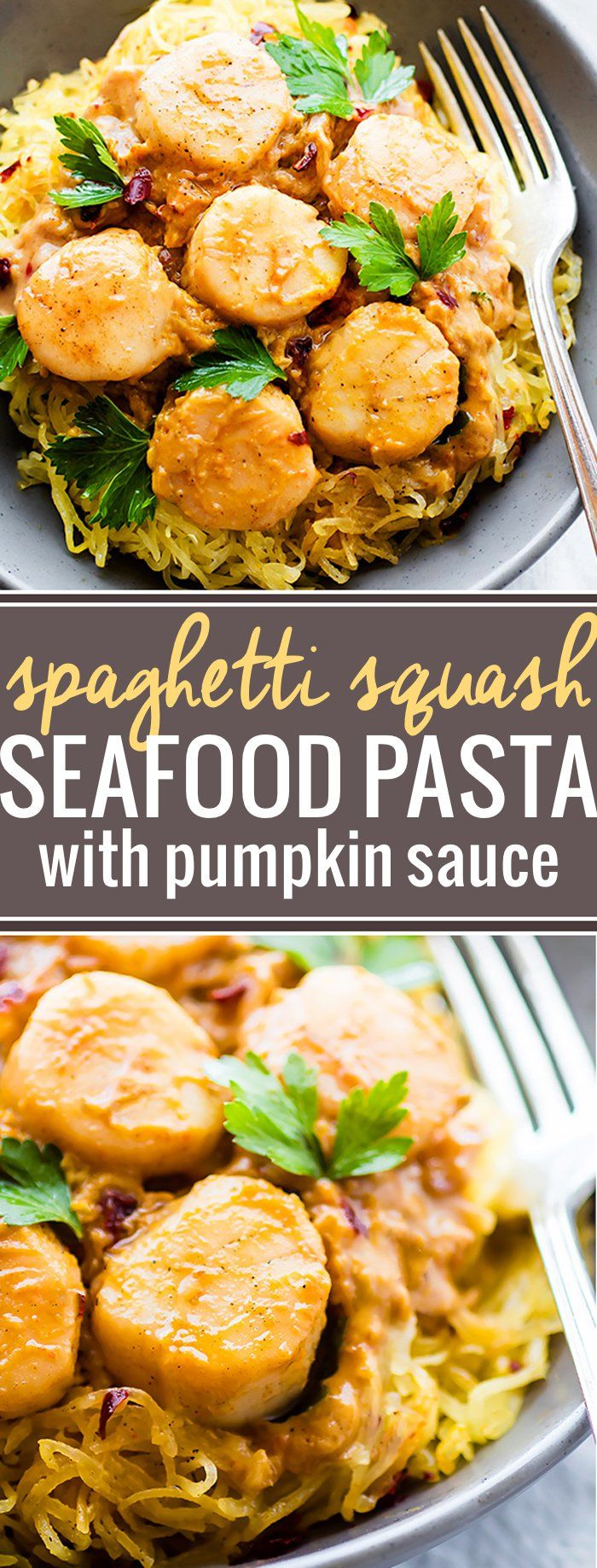 Paleo Seafood Pumpkin Spaghetti Squash Pasta! So good! It's topped with a miso pumpkin sauce and buttery scallops. A healthy lighter version of your favorite pasta dish.  http://cottercrunch.com