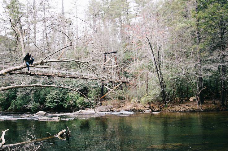 The Swinging Bridge Over The Toccoa River in Blue Ridge, GA