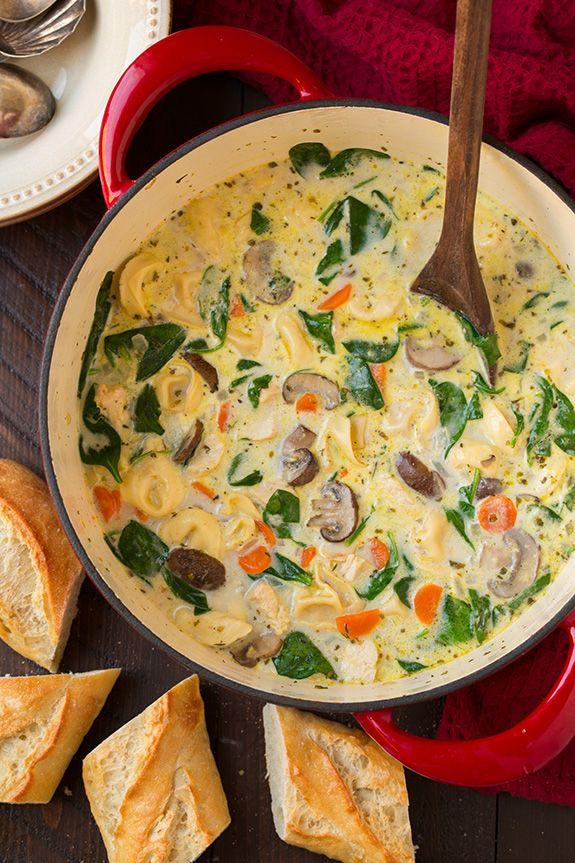 Cremosa de pollo, espinacas y champiñones Sopa de Tortellini |  cocinar con…