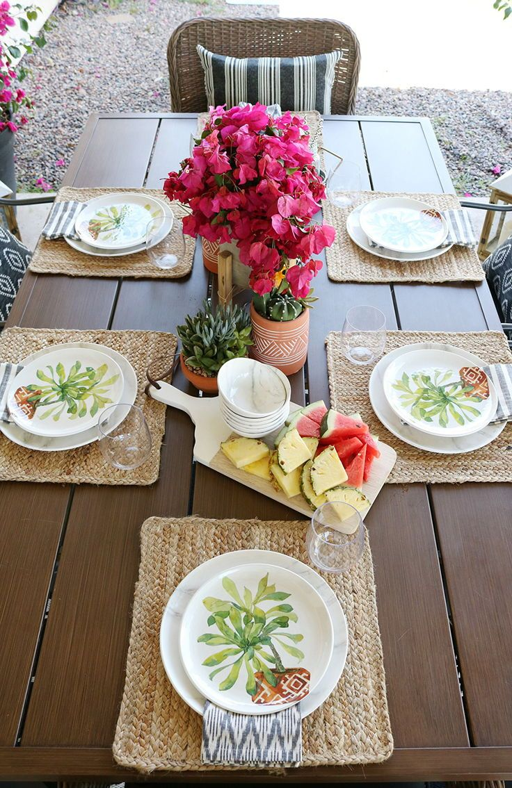 Better Homes Gardens Jute Braid 14 Natural Color Square Placemat Walmart Com In 2021 Patio Table Decor Dinner Table Decor Patio Tableware