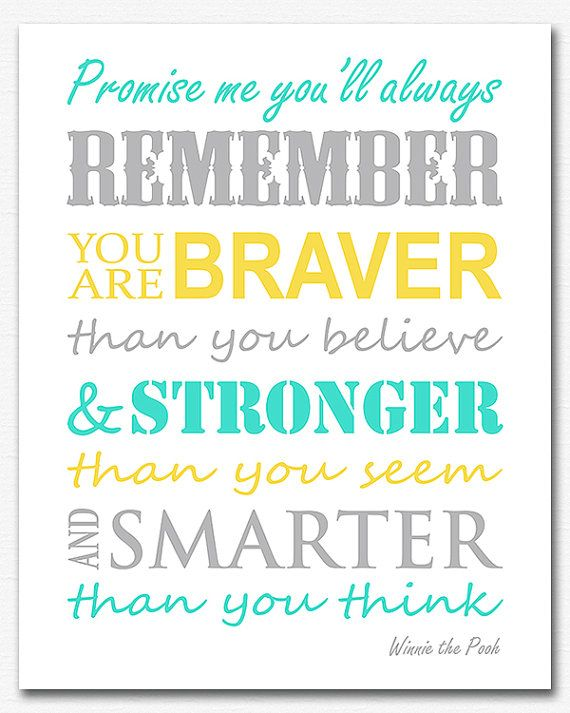 Aqua, yellow and grey typography Art Print - Children wall art, Baby Room Decor, Winnie the pooh, nursery quote, promise me - UNFRAMED on Etsy, $10.88