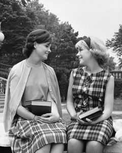 teenage-dresses-50s.  Sweater sets and plaid pleated skirts, bobby socks and oxfords were the main stay of a girl''s wardrobe.