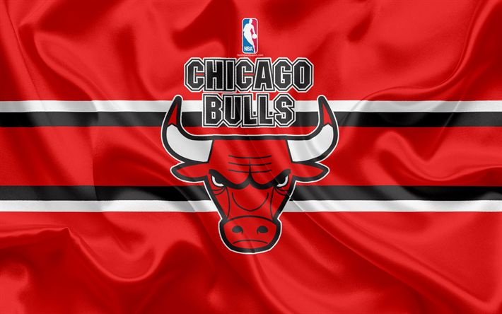 Download wallpapers Chicago Bulls, basketball club, NBA, emblem, new logo, USA, National Basketball Association, silk flag, basketball, Chicago, Illinois, US basketball league, Central Division