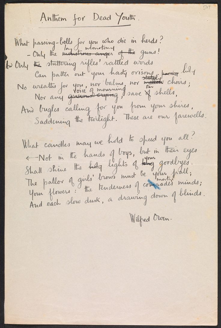 """the reflection of the war imagery in wilfred owens sonnet Wilfred owen poems - authorstream  it is written in an italian sonnet form of iambic  wilfred owens personifies the """"anger of guns"""" and """"stuttering rifles."""