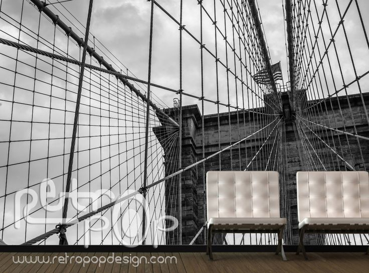Fotomural Brooklyn Bridge B/N. info en www.retropopdesign.com