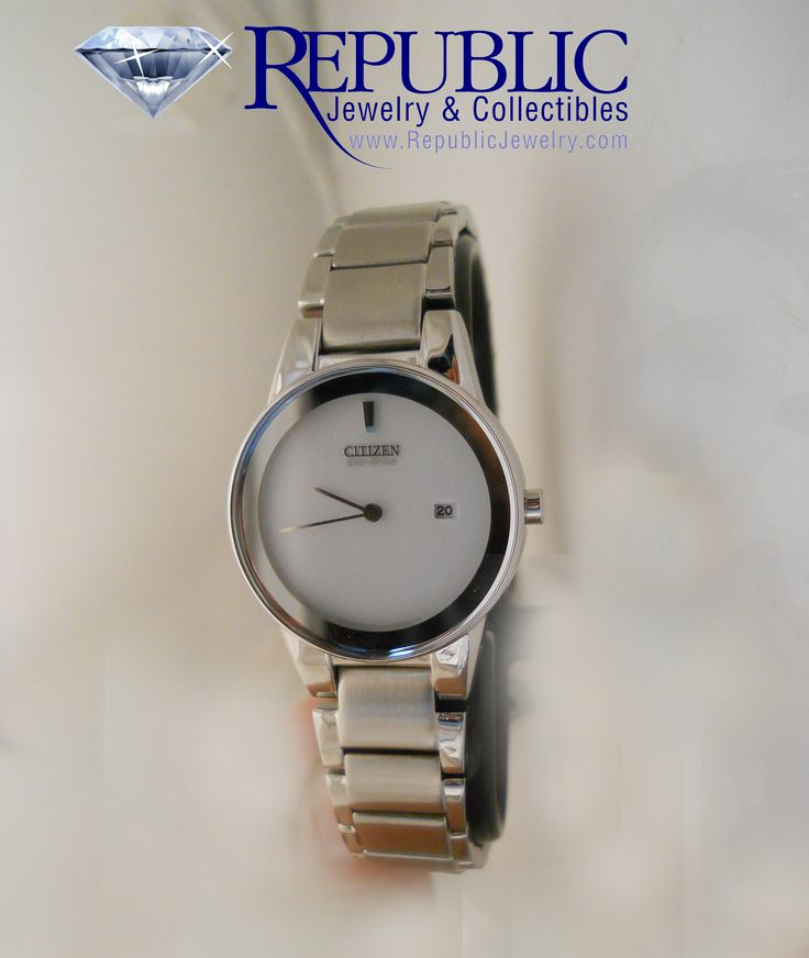 Ladies white face Citzen Eco-Drive watch, retails for $225, you only pay $157.50 at Republic Jewelry!  212 Center St. Auburn, Me (call us for more info toll free at 1-877-422-7979)