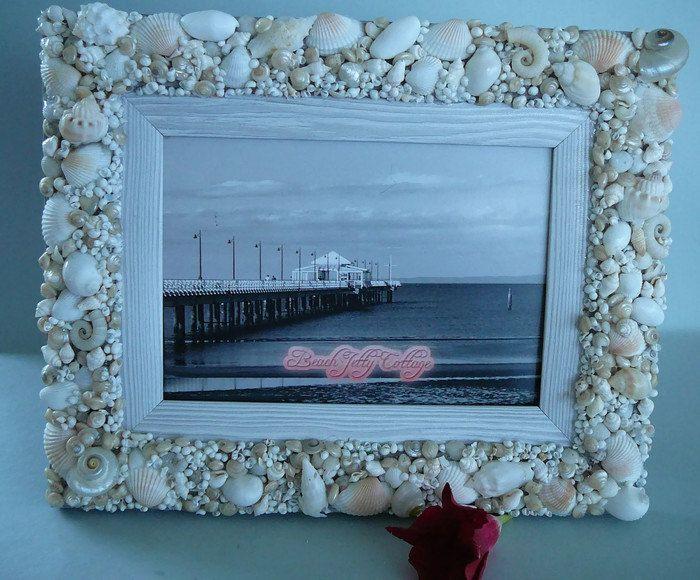 Sea Shell Photo Frame by BeachJettyCottage on Etsy