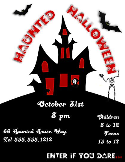Free Spooky Haunted Halloween Flyer Template Halloween
