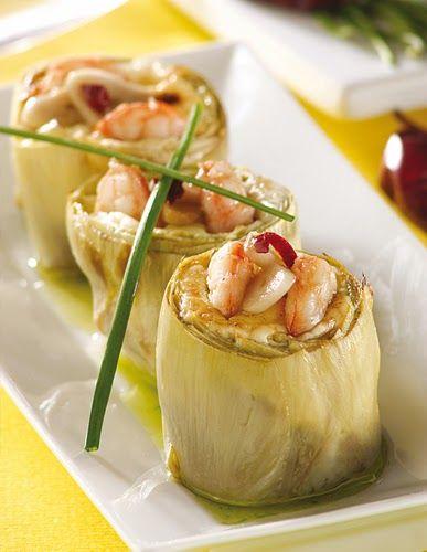 Chef & Quality: ALCACHOFAS RELLENAS DE GAMBAS