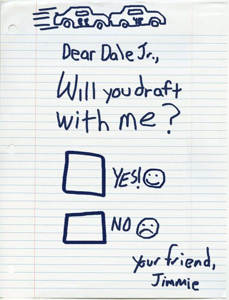 Jimmie Johnson to Dale Jr.. & Yes,This is REAL lol! Pinterest keeps me up to date on NASCAR News.. haha