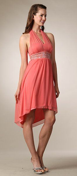 halter neck coral wedding guest dress flowy short knee length empire