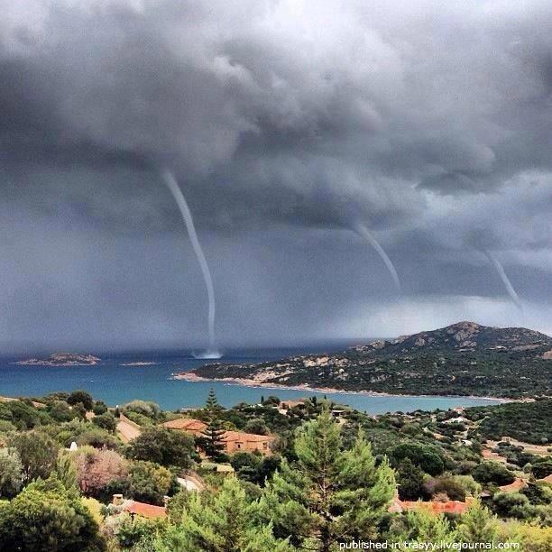 Triple Tornado in Sardinia, Italy
