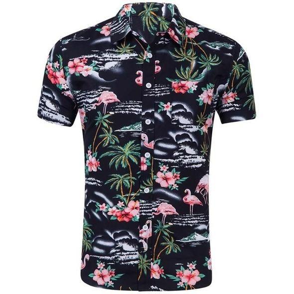 Summer Men Short Sleeve Hawaiian Shirt Hawaii Shirt Style Casual Beach Hawaii Shirts Slim Fit Male Blouse Top