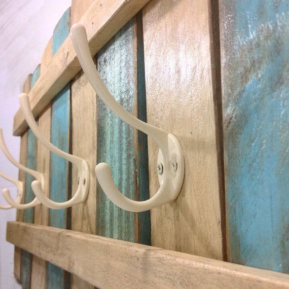 XL Wood Coat Rack Nautical Blue / OOAK Coat Hook / Shabby Chic Cottage Beach Nautical Towel Rack/ Ships from Canada