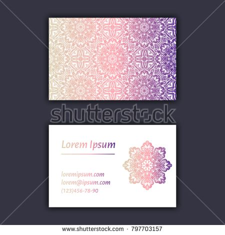 Luxury business cards with floral mandala ornament. Vintage decorative elements