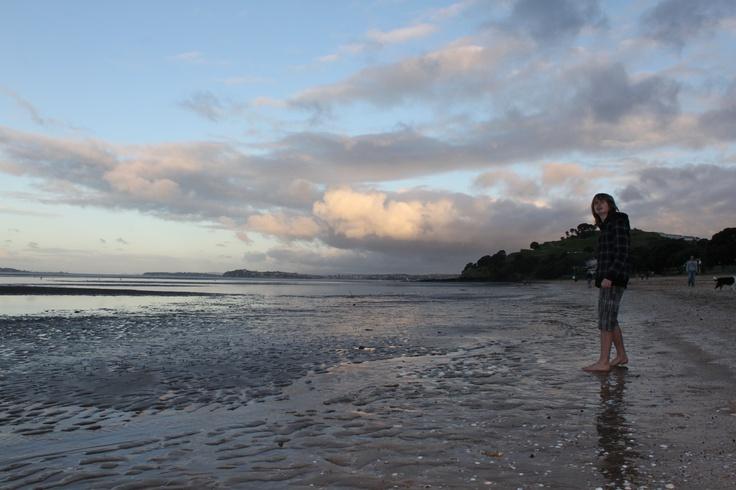 Sevy on Cheltenham beach at dusk