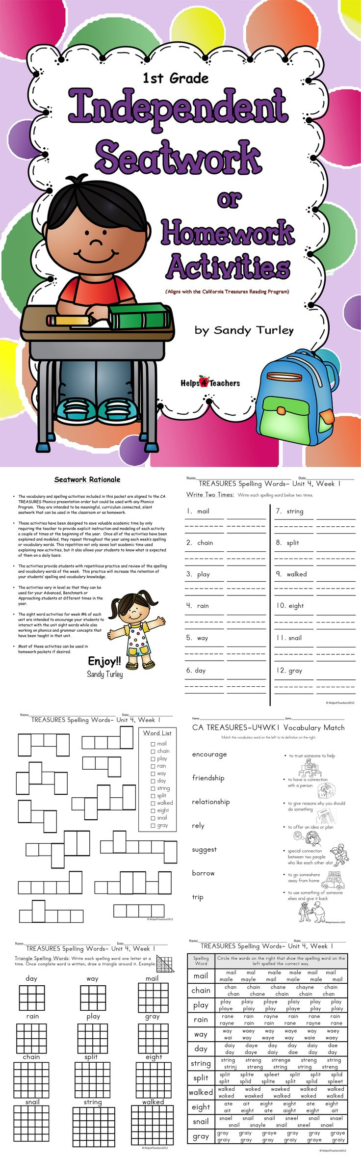 $FANTASTIC!  This E-Book contains printable independent seatwork activities for Spelling, Vocabulary and Sight Words. (It is aligned with the California Treasures Reading Program.) It includes everything you need for the WHOLE YEAR!!!  Found at: http://www.teacherspayteachers.com/Store/Helps4teachers