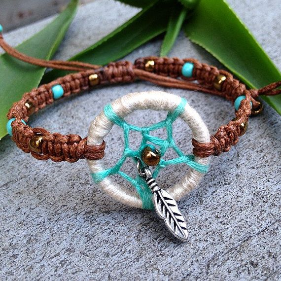 Turquoise and Bronze Mini Dream Catcher Bracelet by KnottyByChoice