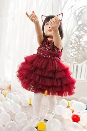 Ulass Princess skirt dress skirt girl children show new year winter years old costumes Flower Girl Dress Skirt
