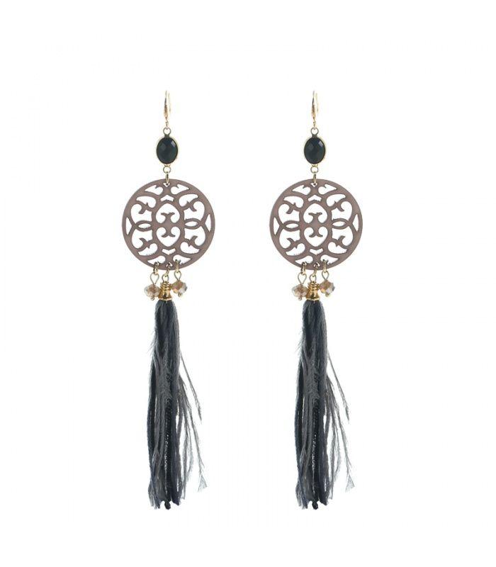 Grijze oorbellen lmet veer en kwast|De lengtes van de oorbellen zijn 15 cm | Yehwang fashion en sieraden