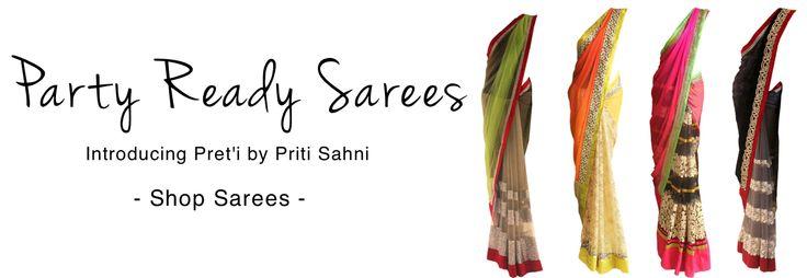 Chiffon and Georgette Sarees by Indian designer Pret'i by Priti Sahni