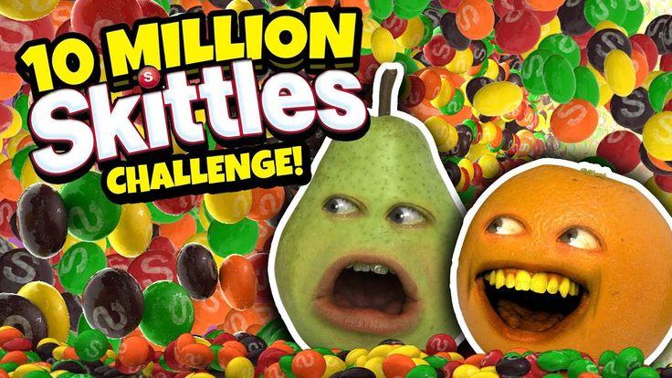 DROPPING 10 MILLION SKITTLES ON PEAR'S HEAD!!! [Annoying Orange Challenge]