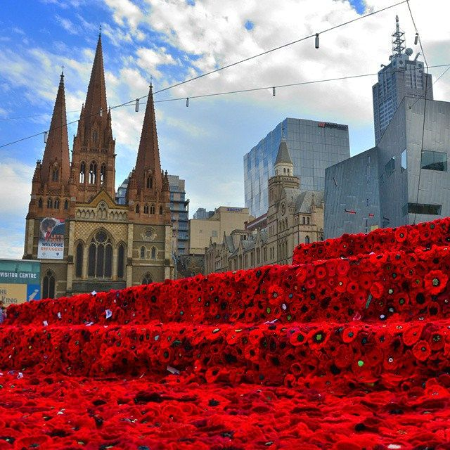 A sea of poppies at Federation Square #5000poppiesproject #anzacday #lestweforget #thankyou