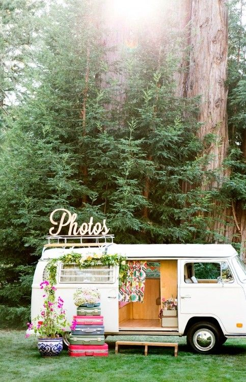 A photo booth in an old combi van! SO bohemian and different - I love this idea!
