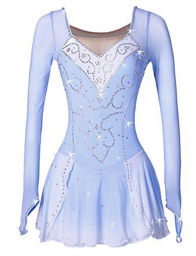 1c24973dfc Vestidos para Patinação Artística Mulheres Para Meninas Patinação no Gelo  Vestidos Azul branco Elastano Pedrarias Lantejoulas