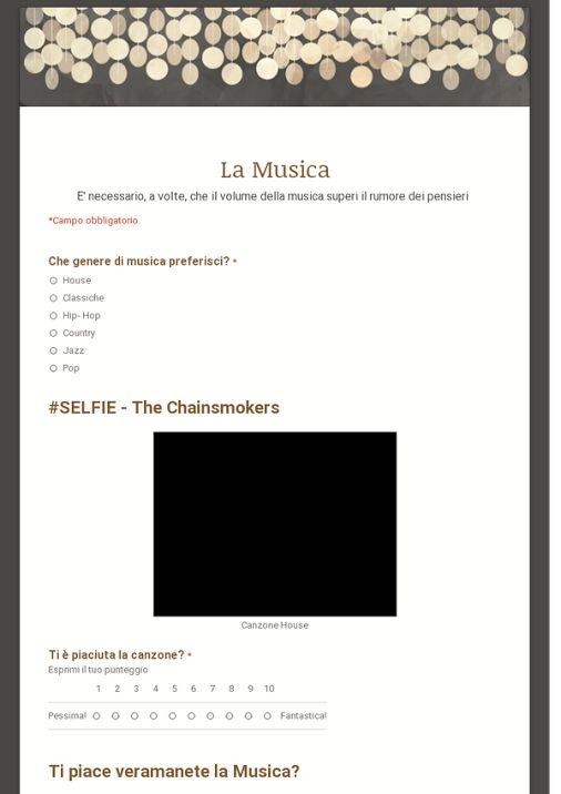 La Musica, realizzato su Google Drive