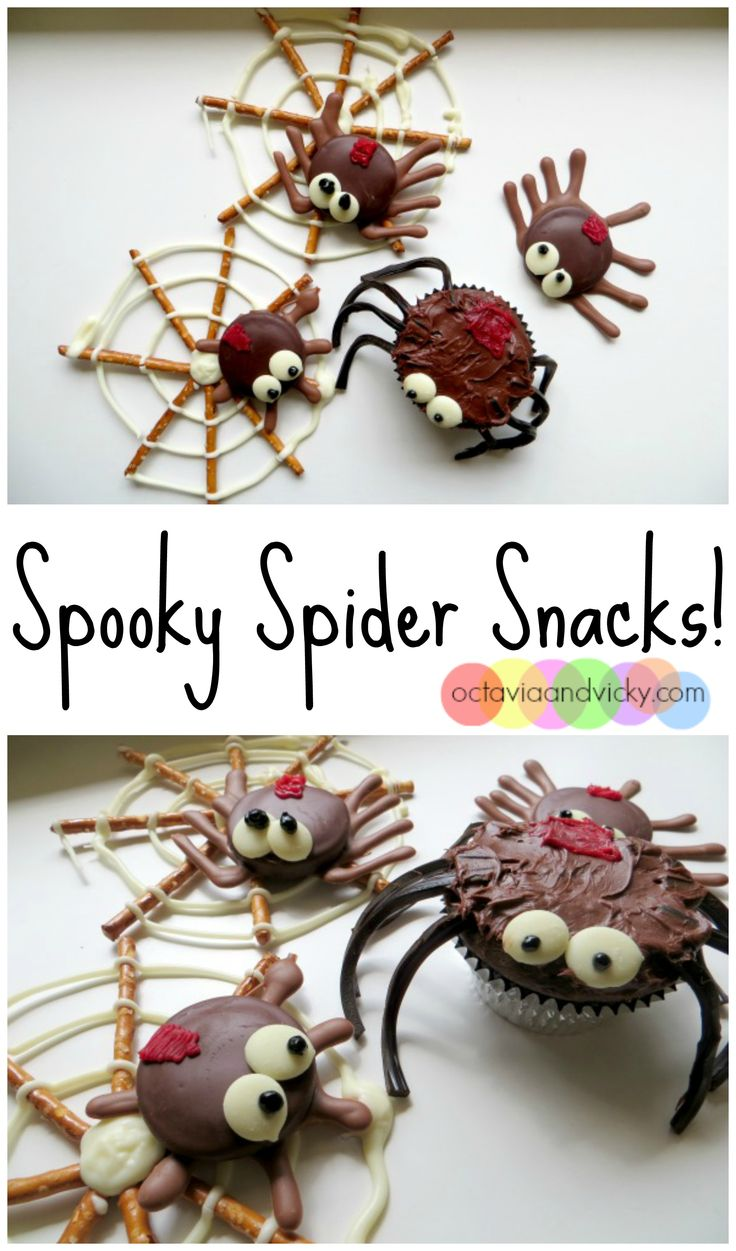 These spider snacks are fun and easy for kids to make. We made them with our three year old and she had a ball! Make a bunch and share them for Halloween.