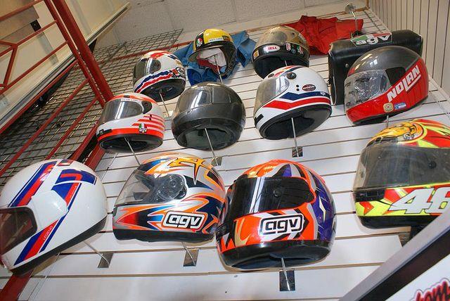 Retro motorcycle helmet display   Flickr - Photo Sharing!