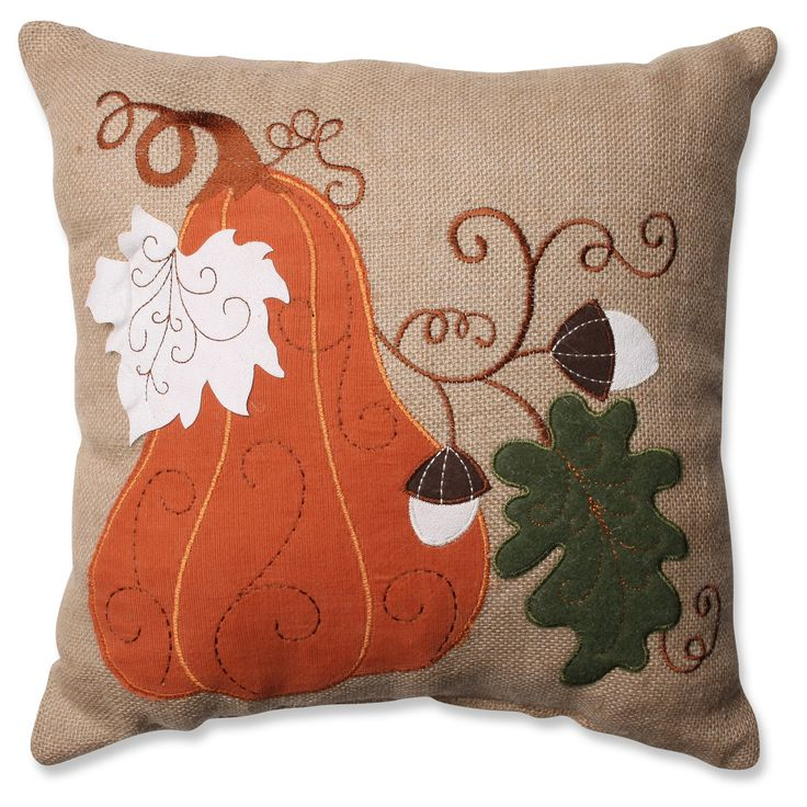 Pillow Perfect Harvest Squash Burlap Throw Pillow - Tan (16.5)
