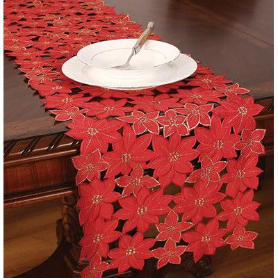"""Xia Home Fashions Festive Poinsettia Embroidered Cutwork Holiday Table Runner Size: 28"""" W x 12"""" L"""