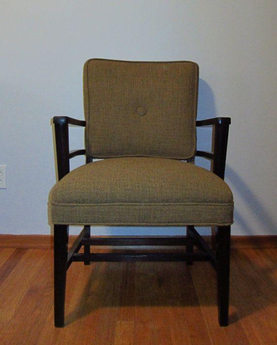Verkauft Vintage Mid Century Gerichtssaal Stuhl In Tommy Bahama Tweed Verkauft