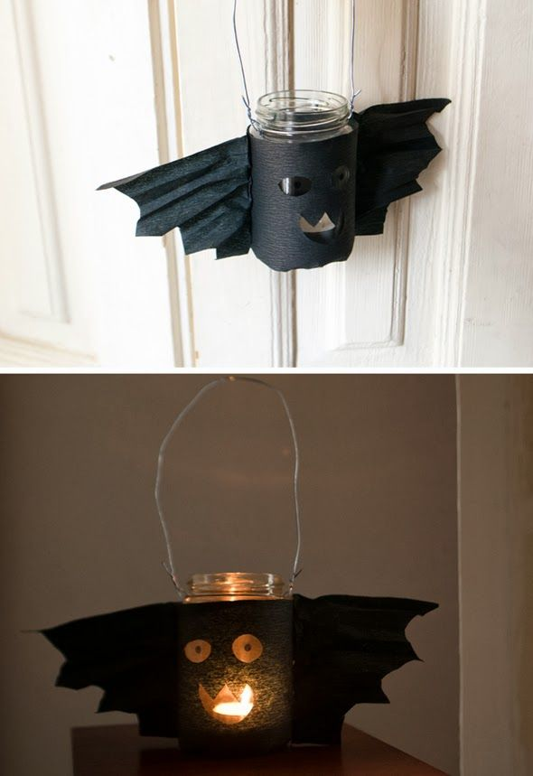 A great idea for a lantern for the kids to carry - would work with plastic bottle too and be safer