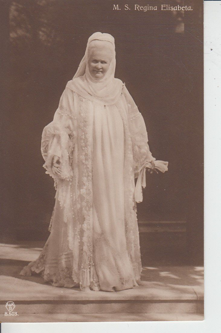 Queen Elisabeth of Romania in white mourning