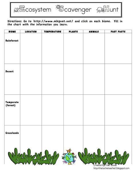 The Techie Teacher: Ecosystem/Habitat/Biome Webquest FREEBIE