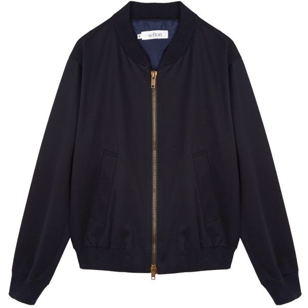 Cotton Bomber Jacket ($245) ❤ liked on Polyvore featuring men's fashion, men's clothing, men's outerwear, men's jackets, mens bomber jacket, mens vintage jackets, mens navy blue bomber jacket, mens cotton military jacket and mens cotton jacket