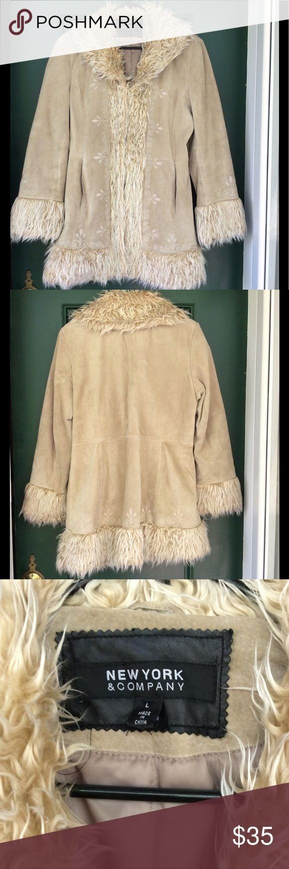 Cream Suede and Faux Fur Jacket This jacket has beautiful embroidery. It has been loved and worn. Structurally it is perfect there are no holes and the pockets are in great condition. Please note the last three images where there is some discoloration and two small stains. The first is a small discolor below the back collar, second is on the back bottom a small smudge and last inside the right bottom is a stain. I am pricing this accordingly. I held onto it in the hopes I would one day fit…