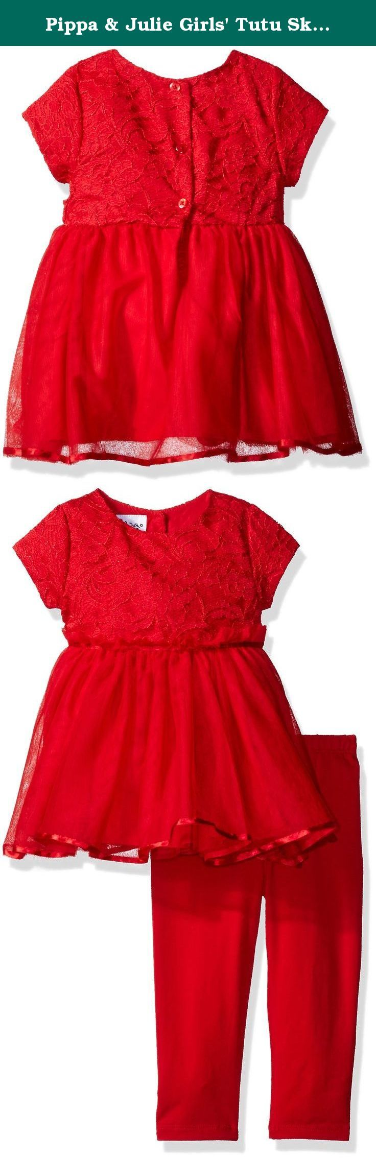 Pippa & Julie Girls' Tutu Skirt Play Set, Red, 6/9M. This adorable play set has a tunic top with a layered mesh tutu skirt and soft coordinating leggings.