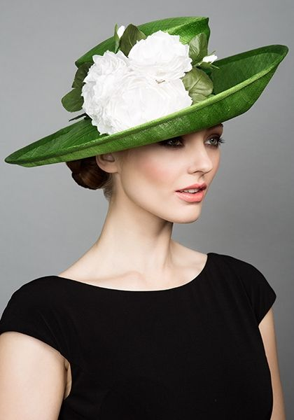 R1595- Green fine straw sidesweep with hand made white silk roses