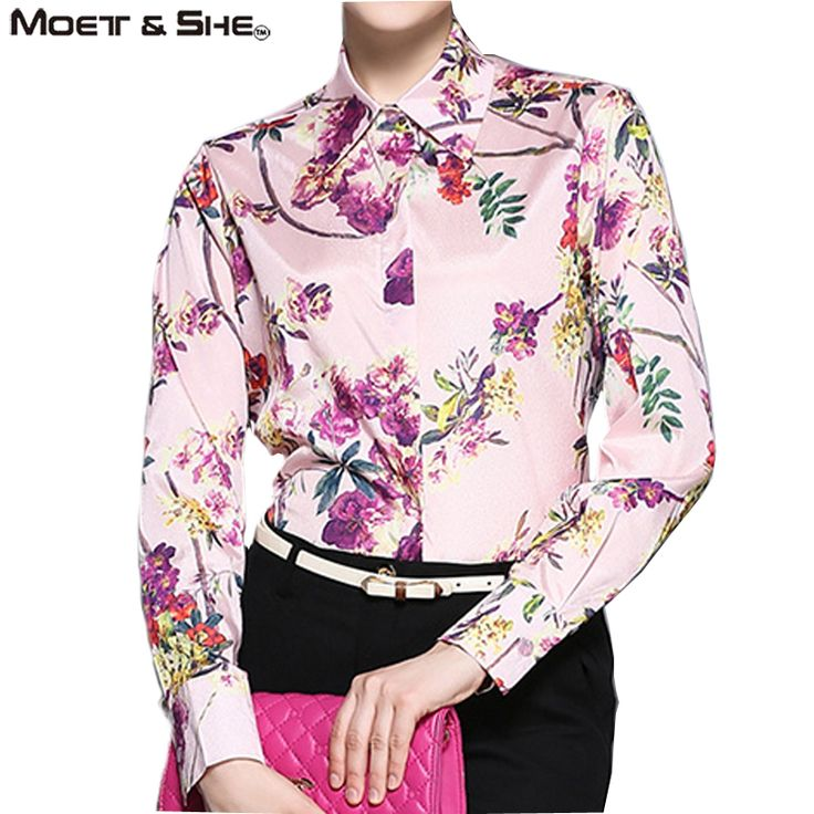 Moet &She High Quality Silk Womens Long Sleeve Blouse Shirt Single Breasted Stylish Retro Floral Print Vintage Pink Tops T68203R