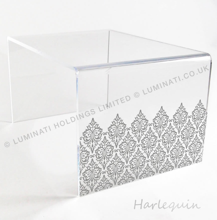 Acrylic table with laser etching, Harlequin design acrylic furniture made in the UK by Luminati