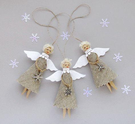 Tela Natale angeli Set di 3 ornamenti di Natale di VasilinkaStore