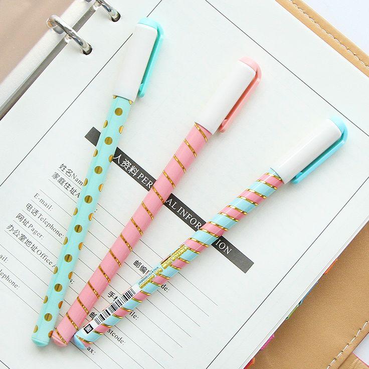 I36 3X Fresh Elegant Polka Dots Striped Gel Pen Student Writing Tool School Office Supply Kids Creative Stationery